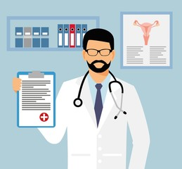 doctor in glasses with a sheet of assignment in his hand. gynecologist in office vector illustration. Medical doctor with stethoscope