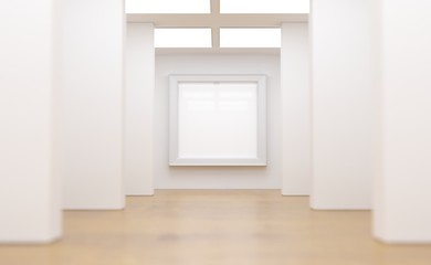 3D Rendering Of Realistic Light Room With White Photo Frame