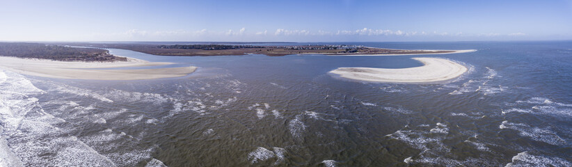 Aerial view of beaches with dangerous currents and rip tides.