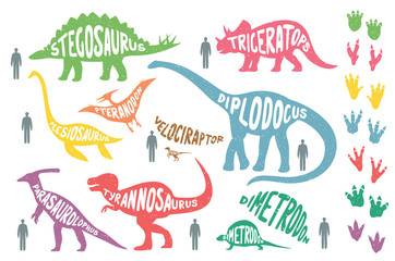 Set of colorful dinosaurs with lettering and footprints, isolated on wite background. Size of dinosaurs vs man size.
