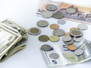 Money cash banknotes coins