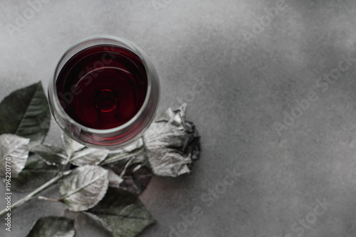 Red Wine In Glass With Silver Rose On Background Flat Lay Place For Text
