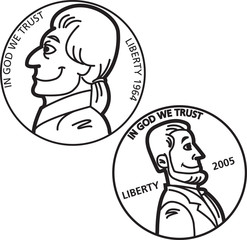Black and white illustration of a nickel and penny coins.
