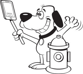 Black and white illustration of a dog taking a selfie with a fire hydrant.