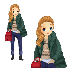 Fashion Girl In Green Jacket