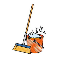 sweep broom with plastic bucket