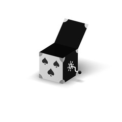 Open box with spades on a front side and handle 3d illustration