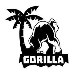Gorilla Logo With Tree and Text