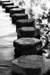 Stepping stones on a stream