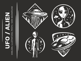 UFO / Aliens emblem, vector illustration, print, sticker set on a black background
