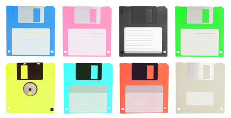 set of color  floppy disk isolated on white background