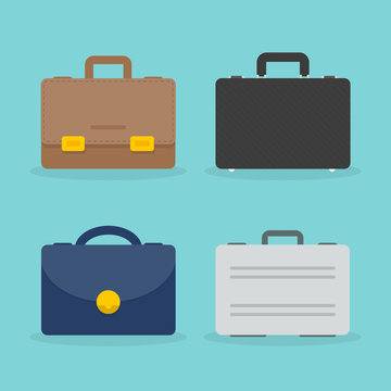 Set: briefcase illustration. Business concept. Colorful icon. Flat design, vector illustration