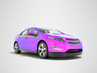 Modern electric car mix purple front from below 3d render perspective on gray background with shadow