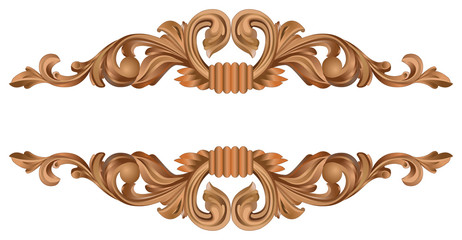 Wood ornament carving realistic vector illustration on white background