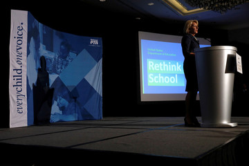 Secretary of Education Betsy DeVos delivers remarks about administration efforts to increase school safety at The National Parent-Teacher Association Legislative Conference in Arlington