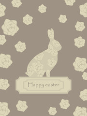 cute lace floral easter beige brown rabbit postcard happy easter