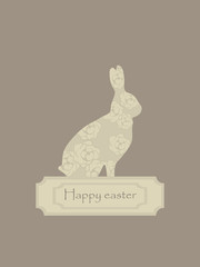 cute lace floral easter beige strict rown rabbit postcard