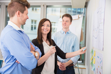 Businesswoman Sticking Adhesive Notes While Standing With Collea
