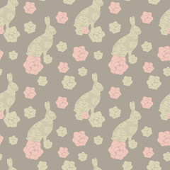 cute lace floral easter beige brown rabbit seamless pattern