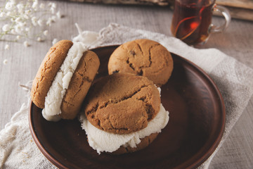 homemade shortbread cookie with ice cream sandwich