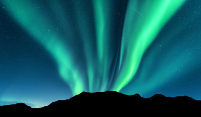 Aurora and silhouette of mountains. Lofoten islands, Norway. Aurora borealis. Green northern lights. Sky with stars and polar lights. Night landscape with beautiful aurora, blue sky. Nature background