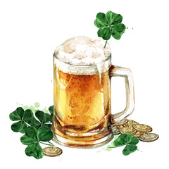 Beer Mug with Lucky Shamrock. Watercolor Illustration