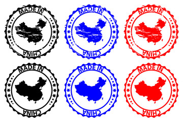 Made in China - rubber stamp - vector, China map pattern - black, blue and red