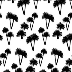 Black palm trees isolated on white background. Vector seamless pattern.