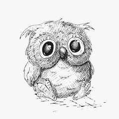 Hand drawn sketch fun owl. Vector illustration