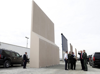 U.S. President Trump participates in a tour of U.S.-Mexico border wall prototypes near Otay Mesa Port of Entry in San Diego, California