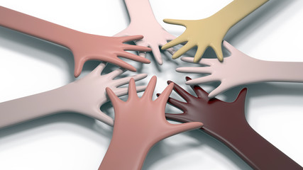 3d illustration of abstract hand shapes of different races