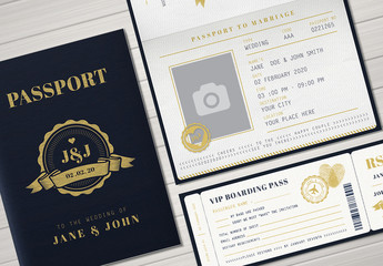 Passport Wedding Invitation Set 1