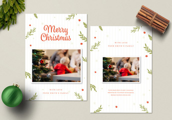 Christmas Photo Card Layout with Illustrations 1