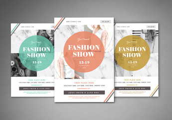 Fashion Show Flyer Layout with Marble Texture 2