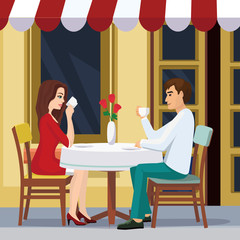 Vector illustration of lovely couple is drinking coffee in a cafe. A man and a woman are sitting at a table outside a restaurant in flat style.