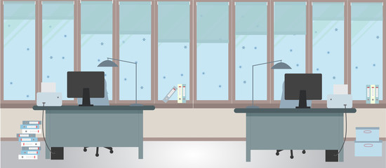 The winter office on a light blue background. Vector illustration. Two tables and two chairs, folders, large windows, protective blinds, boxes, table lamps
