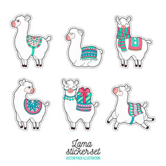 Funny lama patches. Cartoon lama character vector illustration.