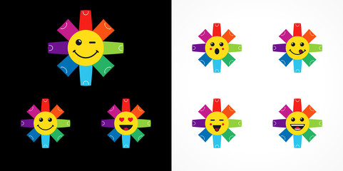 Business and sale branding identity. Logotype idea with animated stars. Template sign of shopping in shape of flowers, isolated smiling people's faces. Set of colored bags,  pockets and packages.