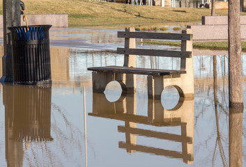 Park Bench in Flood Areas