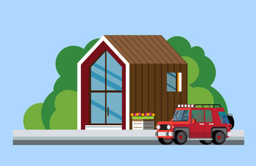 Modern house. Family home. Modern house along the road. Parked car near the modern house. Flat style. Flat design. Vector illustration Eps10 file