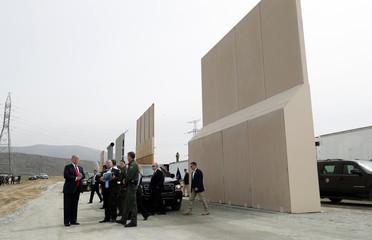 U.S. President Trump participates in a tour of U.S.-Mexico border wall prototypes near Otay Mesa Port of Entry in San Diego, California