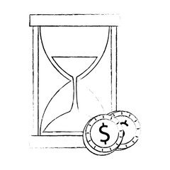 hourglass time with coins