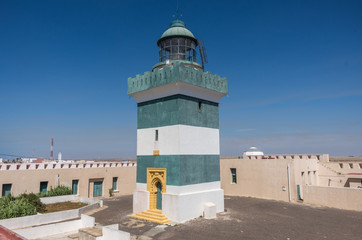 Old thrown lighthouse of the French army on the Atlantic coast, Cap Beddouza, Morocco