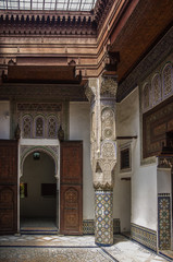 Interior o f Dar Jamai Museum in El Hedim square in Meknes, Morocco.