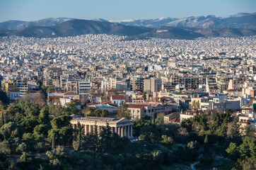View of Athens city with Temple of Hephaestus from Acropolis hill, Greece