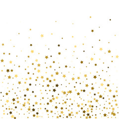 Abstract pattern of random falling gold stars on white background. Glitter pattern for banner, greeting card, Christmas and New Year card, invitation, postcard, paper packaging. Vector illustration.