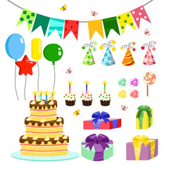 Vector illustration birthday party colorful accessories and decoration, sweet treats, cakes, balloons, candies, gifts in flat cartoon style.