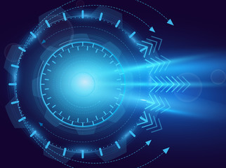 Vector illustration of digital abstraction. Future technology, blue eye, laser, motion concept. Background, abstract hi speed internet. motion move blur, futuristic circuit board.