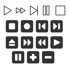 media buttons vector. Stop, play, pause web icons on background
