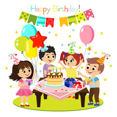 Vector illustration of kids birthday party, colorful and bright decoration, happy children have fun together, girls and boys in flat cartoon style.